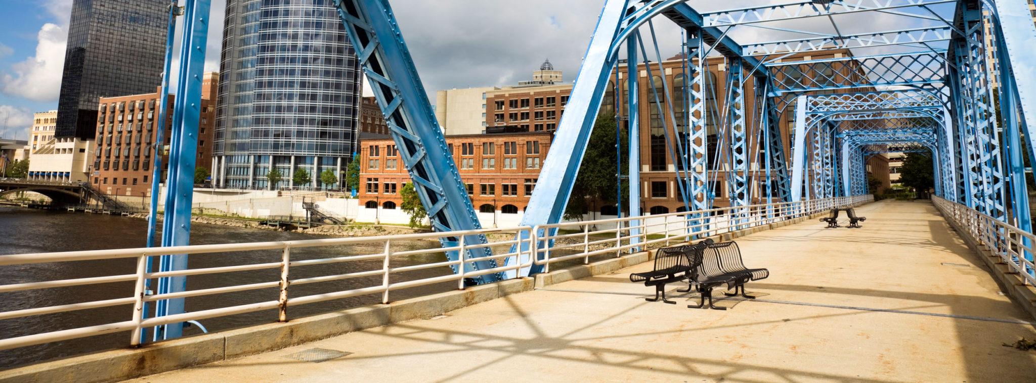 Grand Rapids Blue Bridge Grand River Downtown